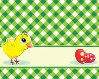 Checkered background with chicken and eggs Stock Photography