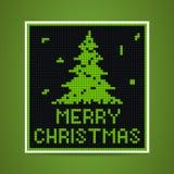 Vector green christmas tetris card. Vector green christmas card in tetris style Royalty Free Stock Photos
