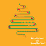 Vector green Christmas tree with balls on orange background Royalty Free Stock Photos