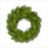Vector green Christmas wreath royalty free stock photo
