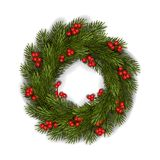 Vector green Christmas wreath with red berries stock images