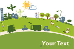 Vector green city. Vector drawing, green background with people and animals Stock Photography