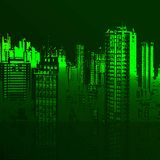 Vector green city and the sea Stock Image