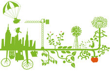 Vector - green city under construction. VECTOR drawing with nature and city elements Royalty Free Stock Photo