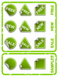 Vector green commerce stickers. Vercotr green stickers, blank and commerce theme royalty free illustration