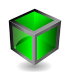 Vector green cube Stock Photos