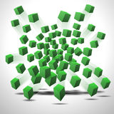 Vector green cubes. Abstract vector green cubes in motion on white background Royalty Free Stock Photography
