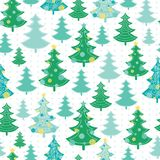 Vector green , decorated christmas trees winter holiday seamless pattern. Great for fabric, wallpaper, packaging Royalty Free Stock Images