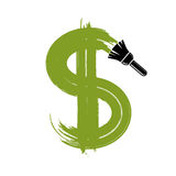 Vector green dollar sign created with paintbrush, simple currenc Royalty Free Stock Photo
