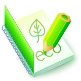 Vector green eco book with pencil Royalty Free Stock Photography