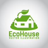 Vector green eco house icon Royalty Free Stock Image