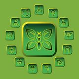 Vector green eco icons set Stock Image