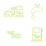 Vector green eco icons set. Recycling and environmental protection Royalty Free Stock Photo