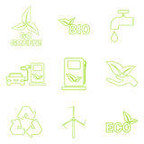 Vector green eco icons set. Royalty Free Stock Photos