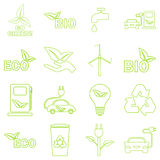 Vector green eco icons set. Recycling and environmental protection Stock Photo