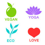 Vector green ecology alphabet - icons and symbols Stock Photos
