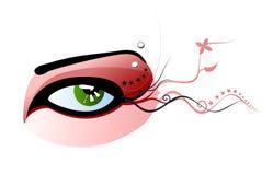 Vector green eye and pierced eyebrow Royalty Free Stock Image