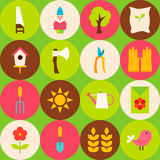 Vector Green Flat Nature Spring Seamless Pattern with Circles Stock Photo