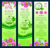Vector green floral banners for spring sale. Spring sale and March shopping promo discount vector banners set. Floral design of springtime blooming flowers Stock Images