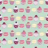 Vector Green Garden Tea Party Cake Seamless Pattern Background. royalty free illustration