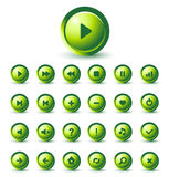 Vector GREEN Glossy Icon Set for Web Applications Royalty Free Stock Photo