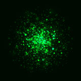 Vector green glowing light glitter background. Magic glow light effect. Star burst with sparkles on dark background. Vector green glowing light glitter abstract Stock Image