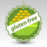 Vector green gluten free paper price tag bowl of wheat Royalty Free Stock Photo