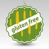 Vector green gluten free paper price tag label wheat stalks Stock Photos
