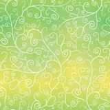 Vector Green Gradient Abstract Branches Swirls Seamless Pattern Background. Royalty Free Stock Images
