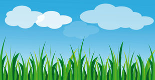 Vector green grass and blue sky Royalty Free Stock Photos