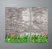 Vector green grass over brick wall background Royalty Free Stock Photos