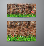 Vector green grass over brick wall background Royalty Free Stock Images