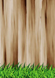 Vector green grass over wood fence background Royalty Free Stock Photos