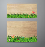 Vector green grass on wood background Stock Photo