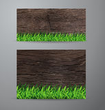 Vector green grass on wood background Royalty Free Stock Photo
