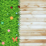 Vector Green grass on wood texture background Stock Photo