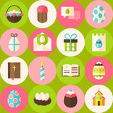 Vector Green Happy Easter Seamless Pattern with Circles Royalty Free Stock Images