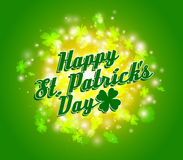 Vector green Happy St Patrick's Day background with clover leaves and spark Royalty Free Stock Photo