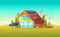 Vector green house, electric car renewable energy. Vector green house, electric car renewable environmental friendly egergy concept. Village cottage with solar vector illustration