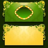 Vector green invitation card with frame. And filigree ornate, place for text Stock Photography