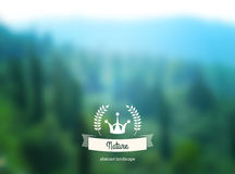 Vector green landscape with hipster badge. Stock Photography