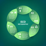 Vector green leaves circle round sign infographic. Template for diagram, graph, presentation and chart. Eco concept with Stock Image