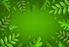 Vector green leaves frame background template. Abstract natural decoration pattern. Summer tropucal exotic jungle. Fern monstera paradise resort, holiday Stock Photos