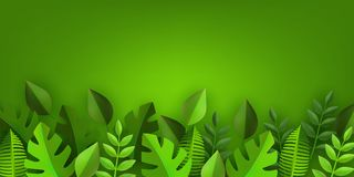 Vector green leaves frame background template. Green leaves frame background template with text space. Abstract natural decoration pattern. Summer tropucal Stock Photo