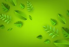 Vector green leaves frame background template. Abstract natural decoration pattern. Summer tropucal exotic jungle. Fern monstera paradise resort, holiday Stock Images