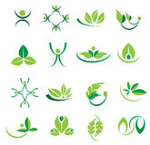 Vector green leaves logo icons, ecology, welness designs Stock Image