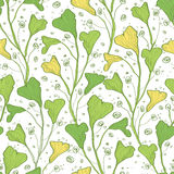 Vector green line art plants seamless pattern Royalty Free Stock Image
