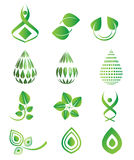 Vector green icons symbol set, leaf, green drops, environment, natural, organic set Royalty Free Stock Photos