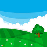 Vector green meadow field with grass texture, tree, and flowers. In fresh cloudy blue sky for children illustration Stock Photography
