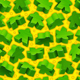 Vector green meeples seamless pattern Stock Image
